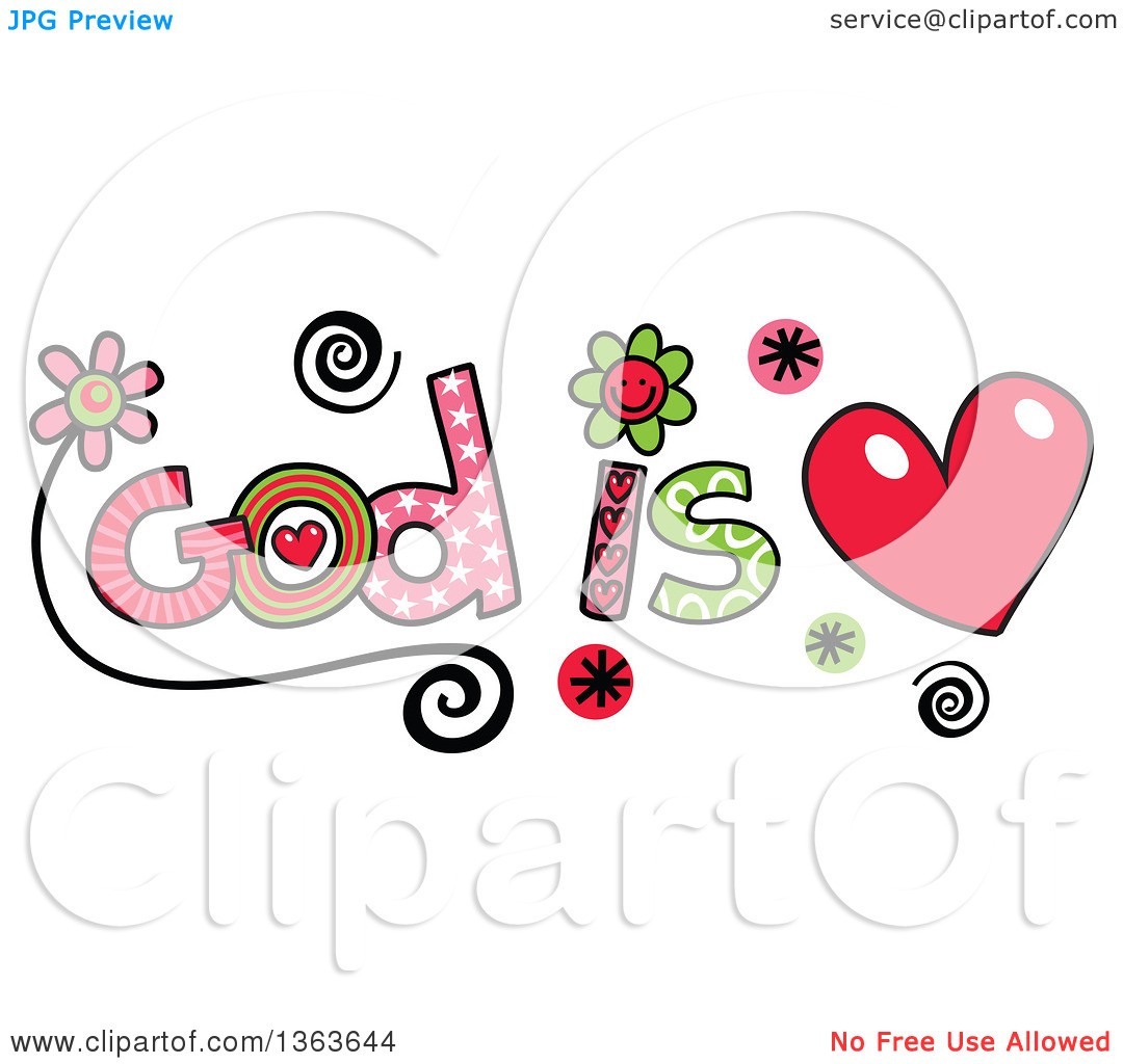 Clipart love and service svg Clipart of Colorful Sketched God Is Love Word Art - Royalty Free ... svg