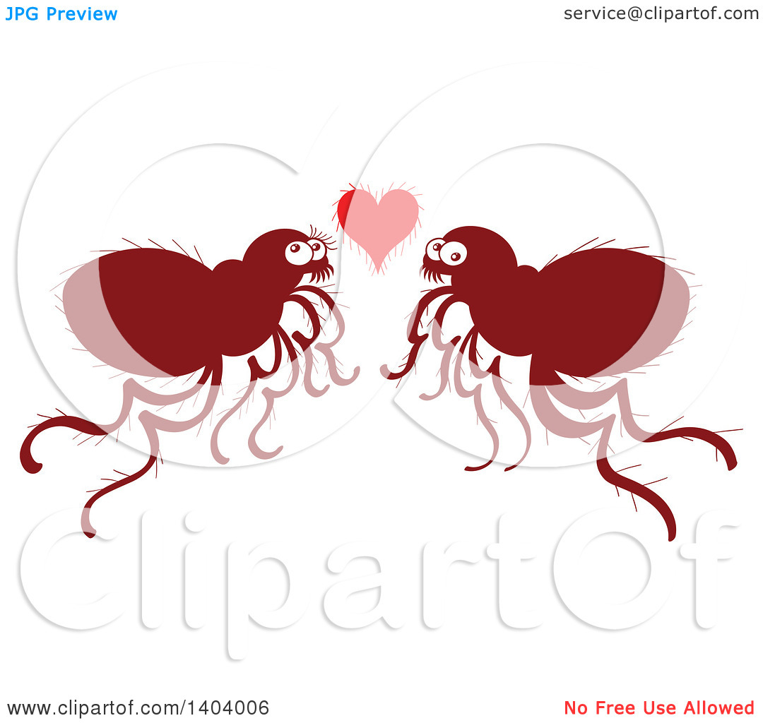 Clipart love and service clipart black and white library Clipart of a Flea Couple in Love - Royalty Free Vector ... clipart black and white library