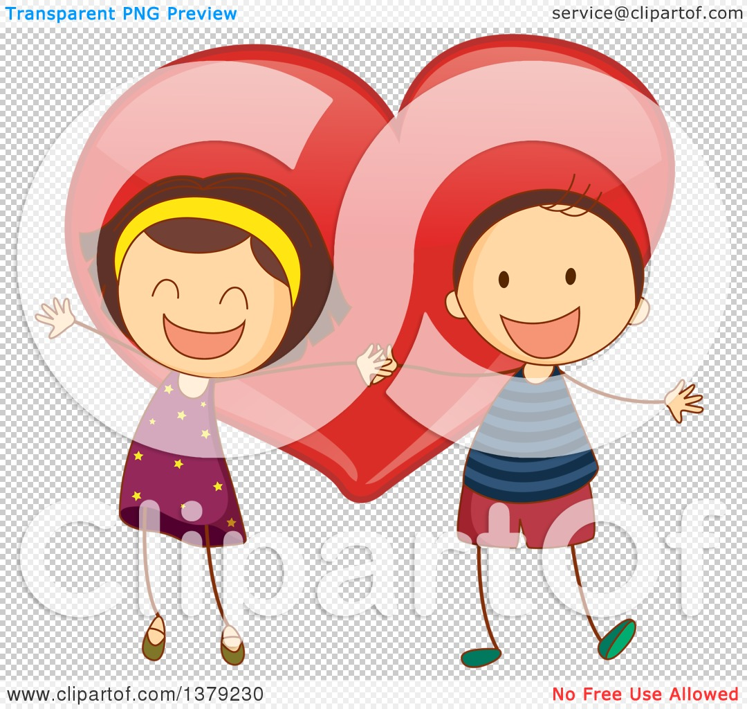 Clipart love and service freeuse stock Clipart of Stick Children Holding Hands over a Love Heart ... freeuse stock