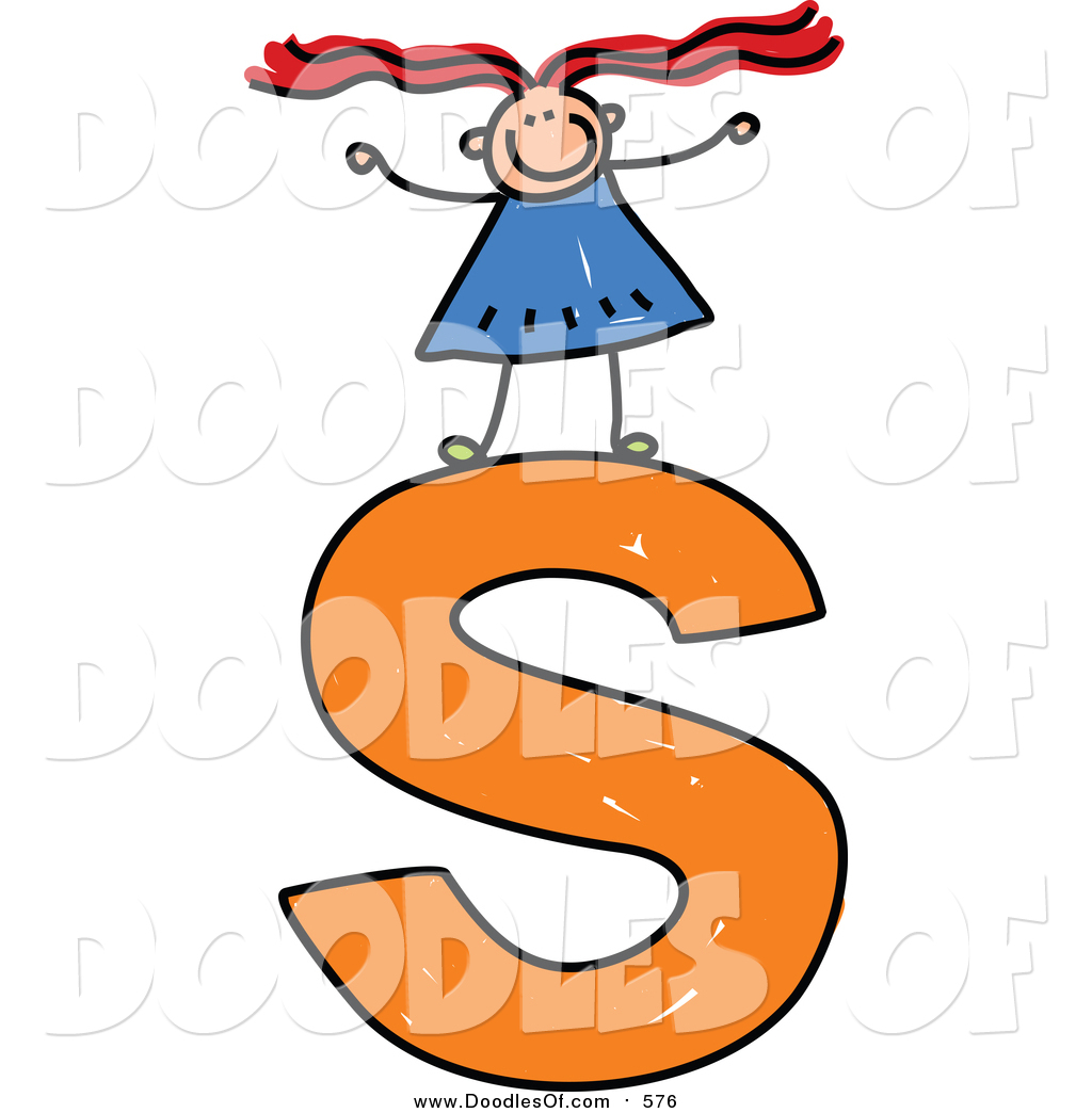Clipart lower case letters vector library library Vector Clipart of a Doodled Girl on a Lowercase Letter S by Prawny ... vector library library