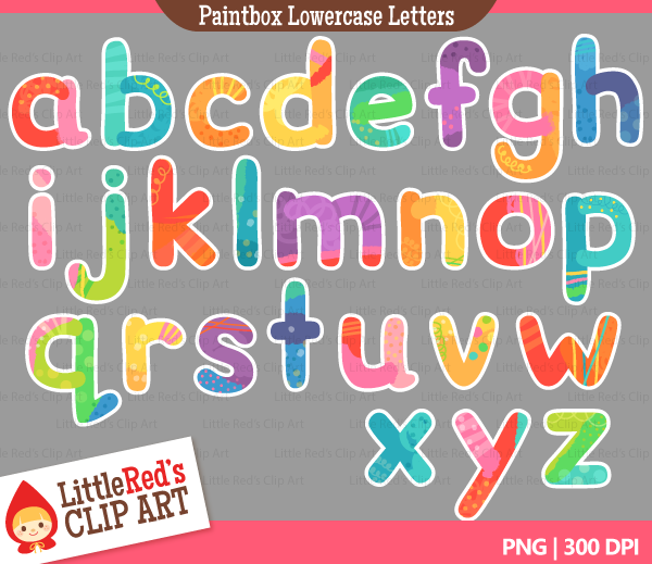 Clipart lower case letters picture freeuse stock Paintbox Lowercase Letters Alphabet Clip Art | Little Red's Treehouse picture freeuse stock
