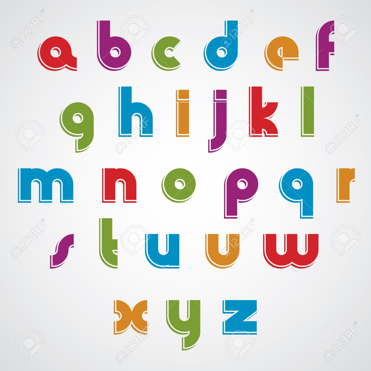 Clipart lower case letters clipart transparent library Colorful Cartoon Smooth Font, Rounded Lowercase Letters With ... clipart transparent library