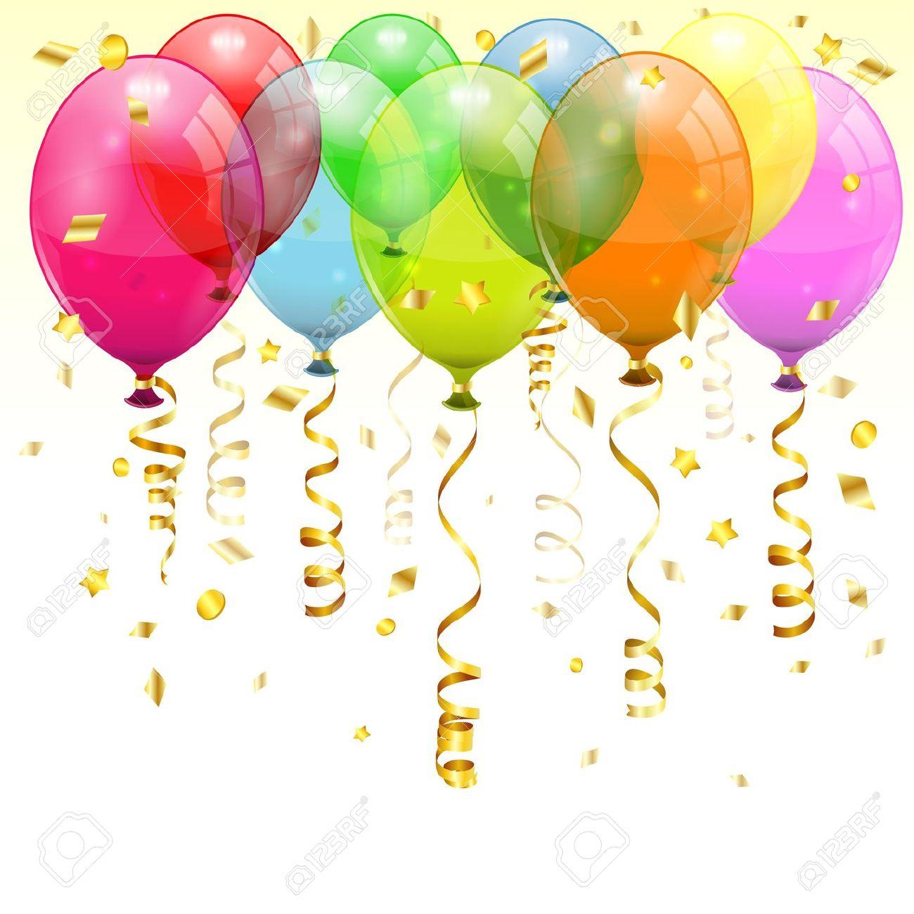 Clipart luftballon geburtstag free stock Geburtstag Hintergrund Mit 3D Transparent Geburtstag Luftballons ... free stock