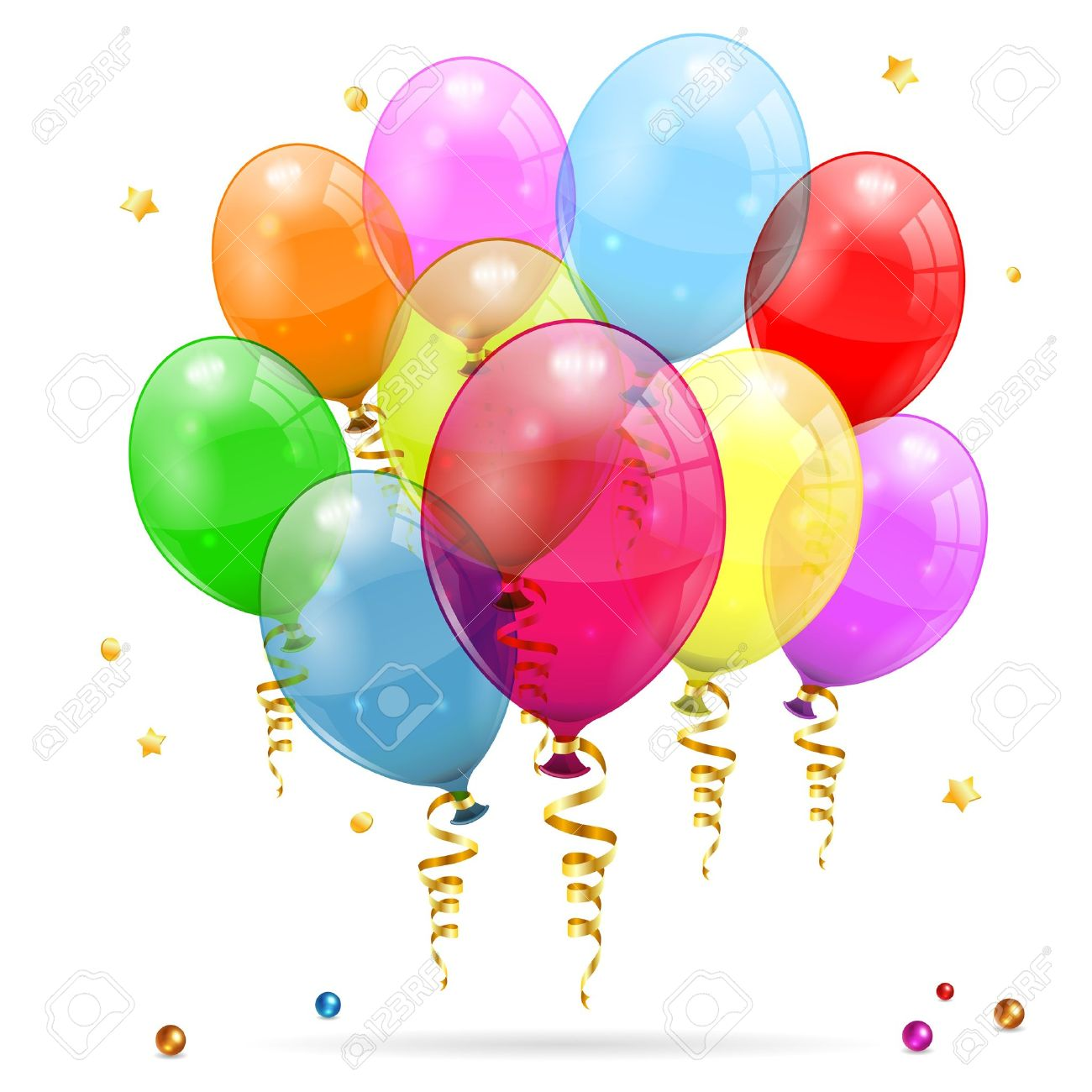 Clipart luftballon geburtstag png library 3D Transparent Geburtstag Luftballons Mit Streamer, Isoliert Auf ... png library