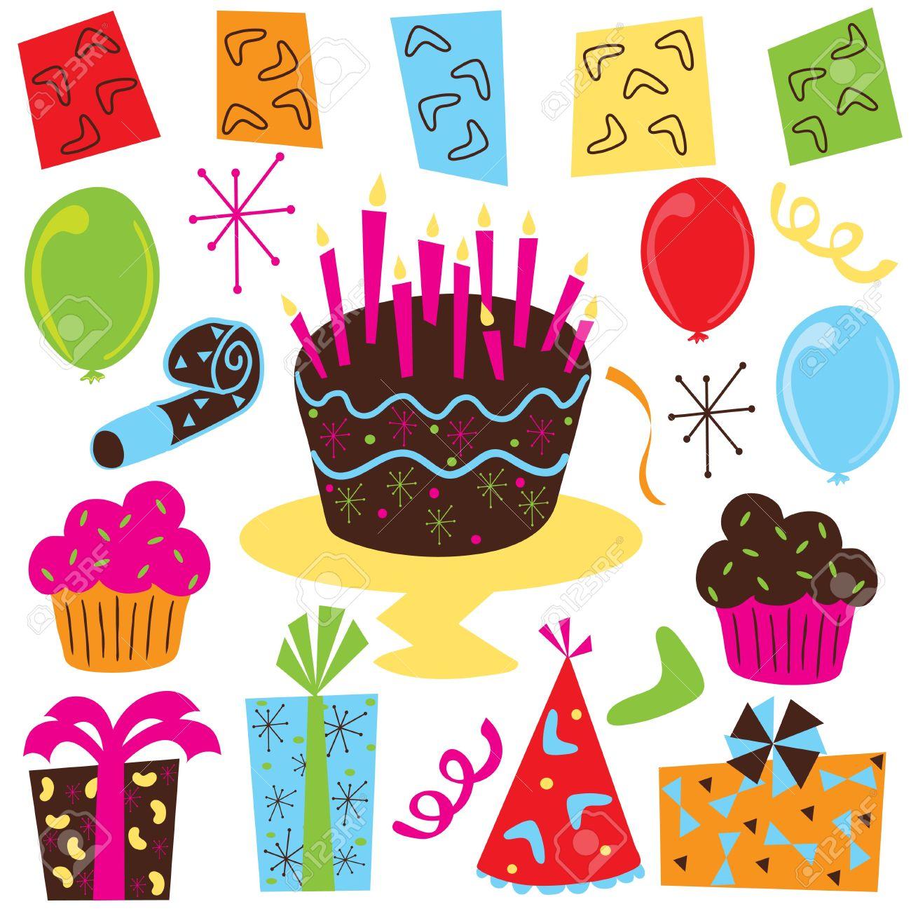 Clipart luftballon geburtstag png freeuse Retro Party Geburtstag Clipart Geburtstag Mit Kuchen, Cupcakes ... png freeuse
