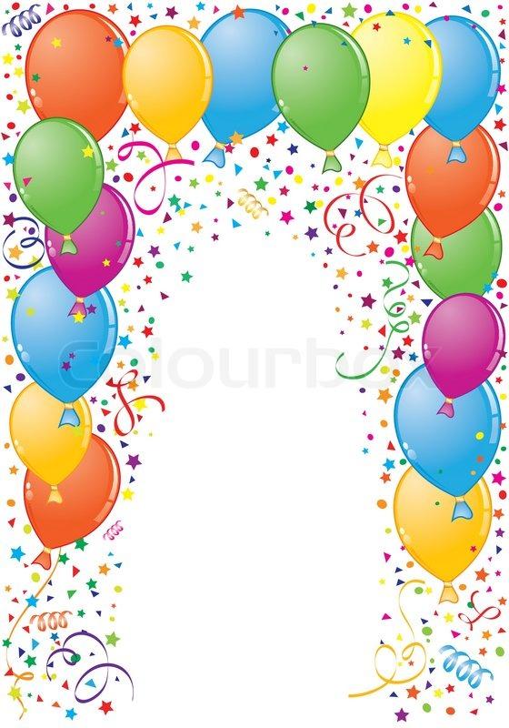 Clipart luftballon geburtstag png transparent download Geburtstag Rahmen mit Ballon- und Streamer , Element für Design ... png transparent download
