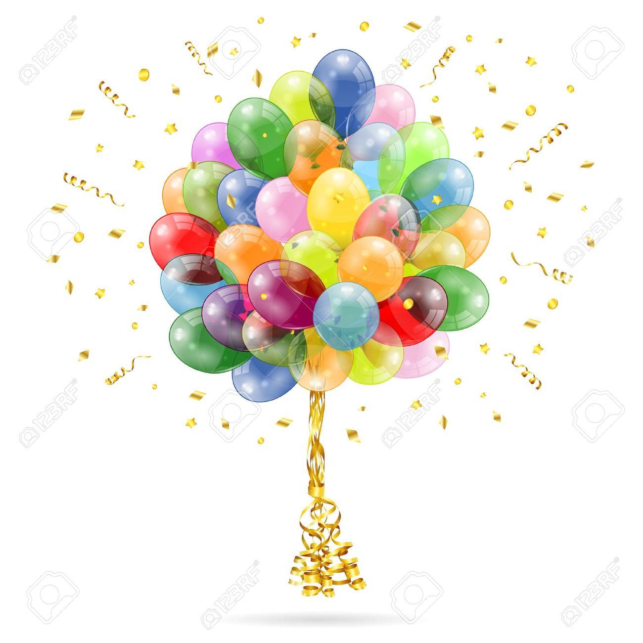 Clipart luftballon geburtstag clipart 3D Transparent Geburtstag Luftballons Mit Streamer Und Konfetti ... clipart