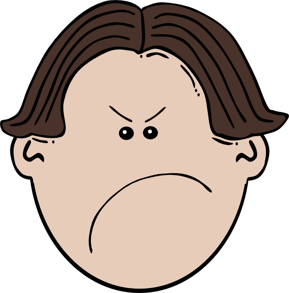 Face kid angry brown. Clipart mad