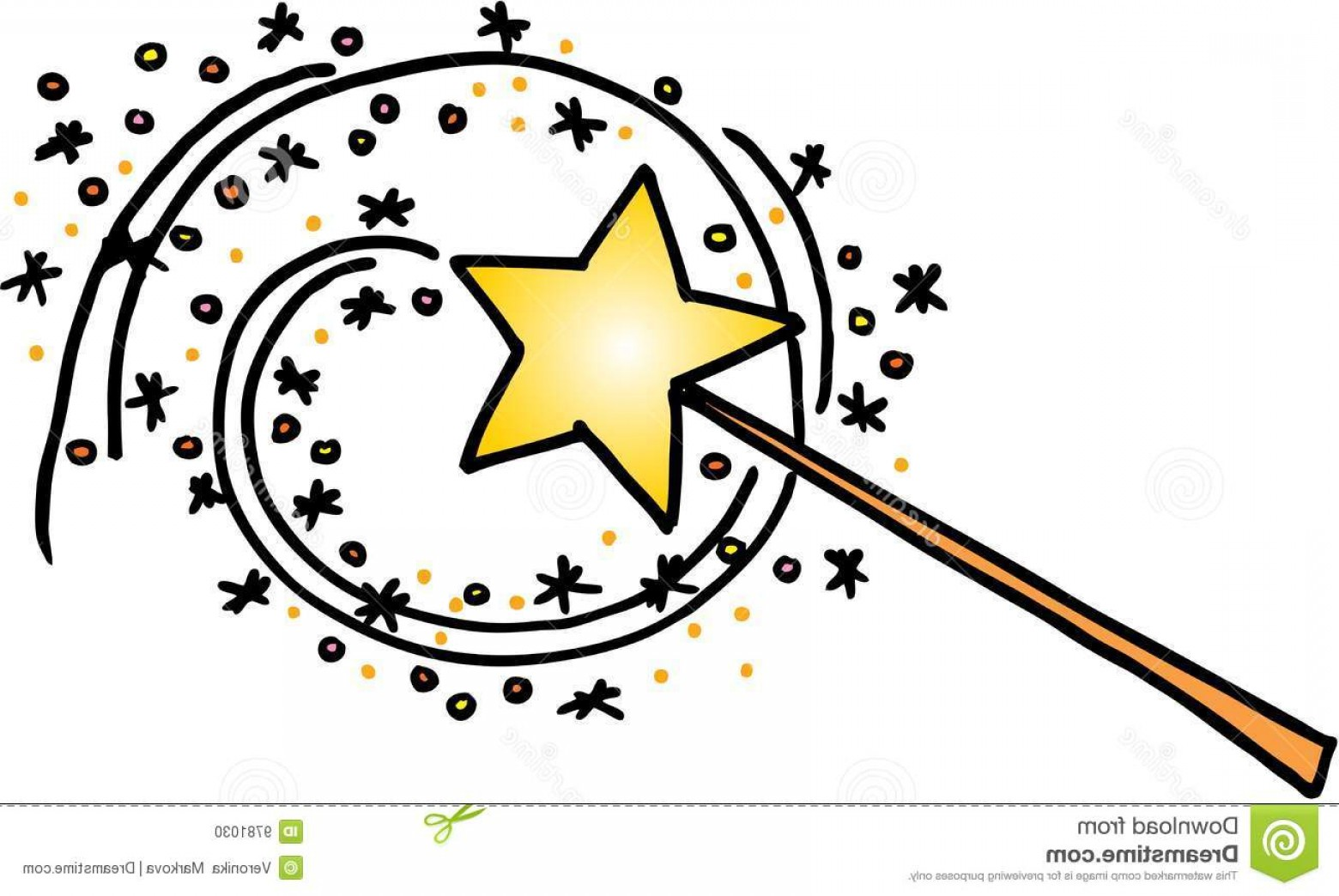 Clipart magic wand clipart library download Magic Wand With A Trail Of Stars Vector Image On White Background ... clipart library download