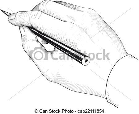 Vecteur de crayon les. Clipart main qui ecrit