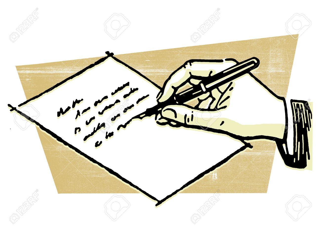 Clipart main qui ecrit picture download Un Dessin D'une Main Qui écrit Une Lettre Banque D'Images Et ... picture download
