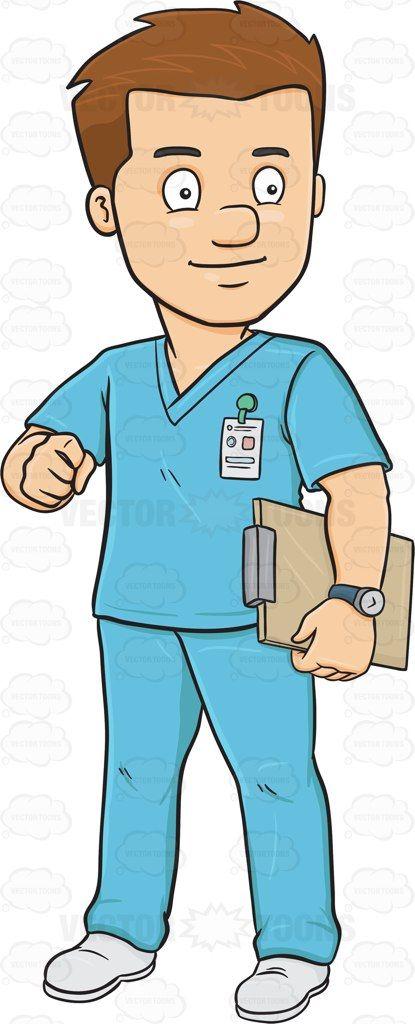 Clipart male nurse clip free A Male Nurse In Scrubs Holding A Clipboard #adult #adultmale ... clip free