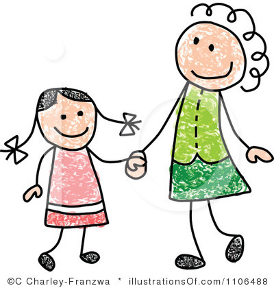 Clipart mama. Mom and daughter kid