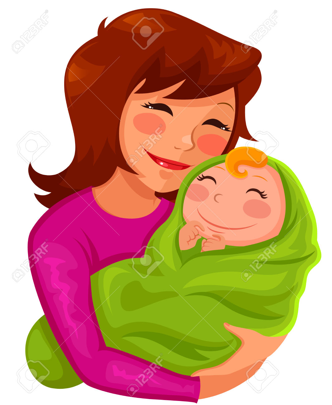 Clipart mama baby girl picture royalty free stock Happy Young Mother Hugging Her Baby Royalty Free Cliparts, Vectors ... picture royalty free stock
