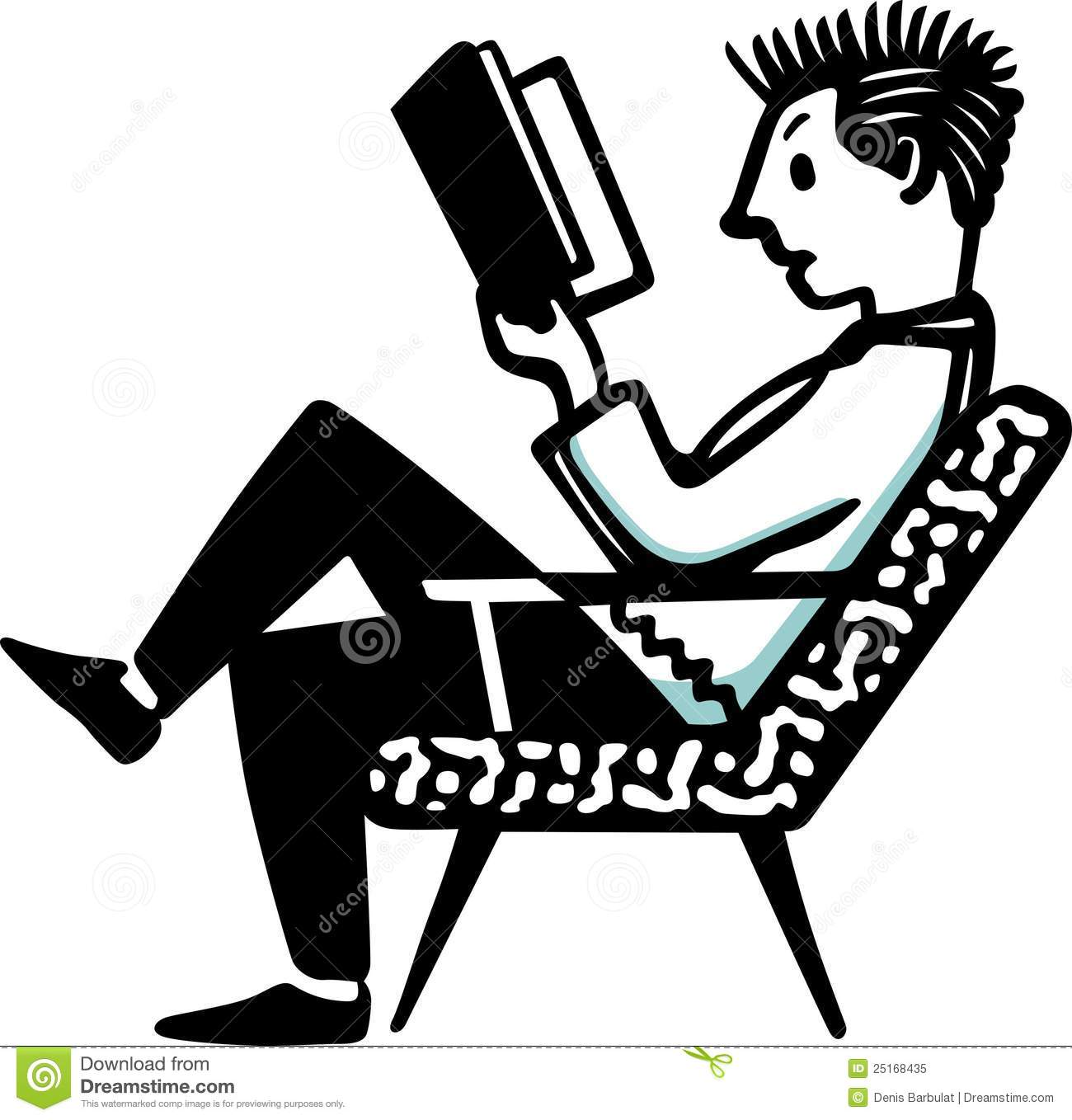 Clipart man in chair reading book graphic freeuse Man Sitting In The Chair And Reading The Book Royalty Free Stock ... graphic freeuse