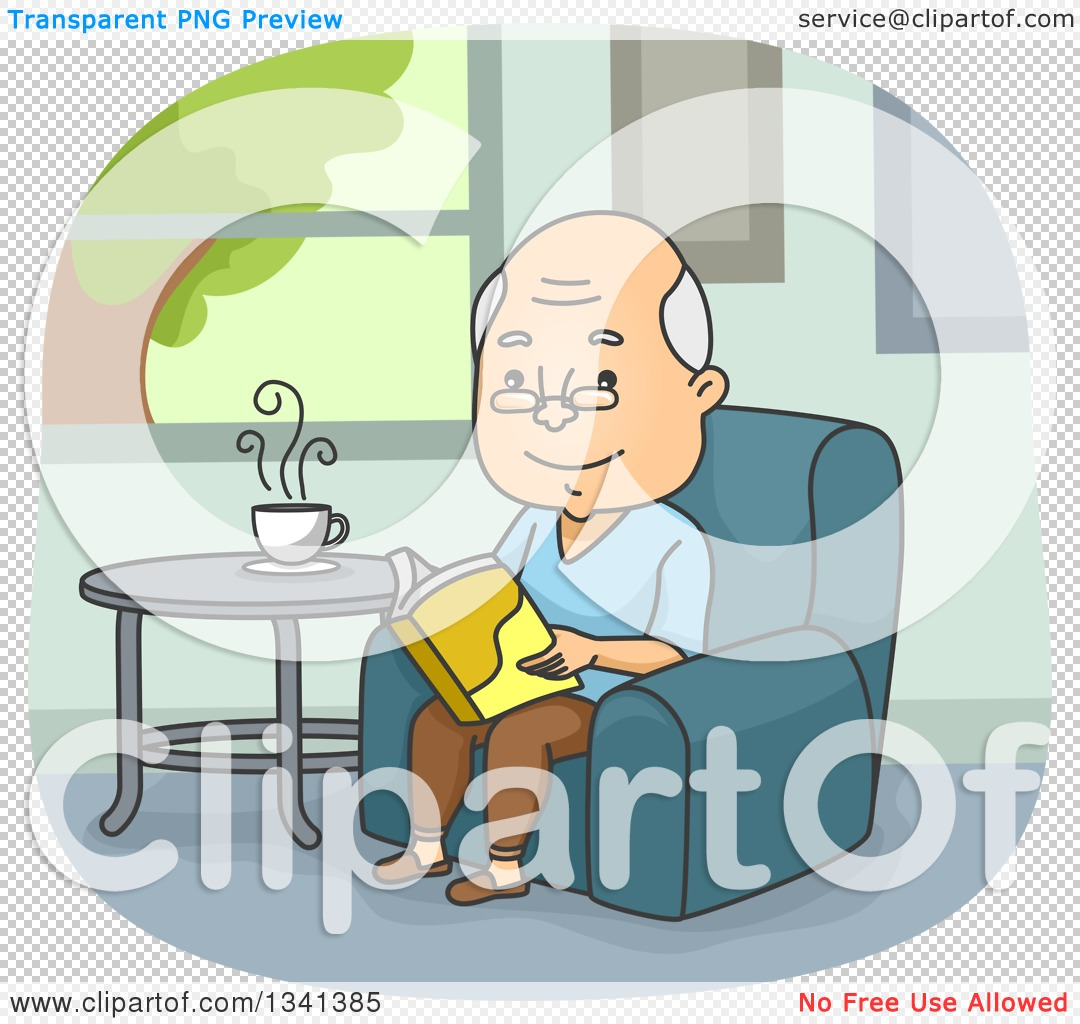 Clipart man in chair reading book image free Clipart of a Cartoon Happy Senior Caucasian Man Reading a Book in ... image free