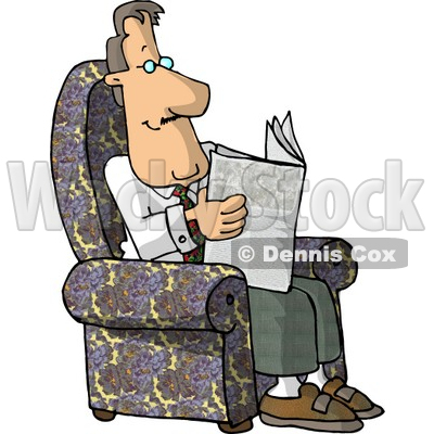 Clipart man in chair reading book jpg royalty free download Sitting In His Chair and Reading the Newspaper Clipart © Dennis ... jpg royalty free download