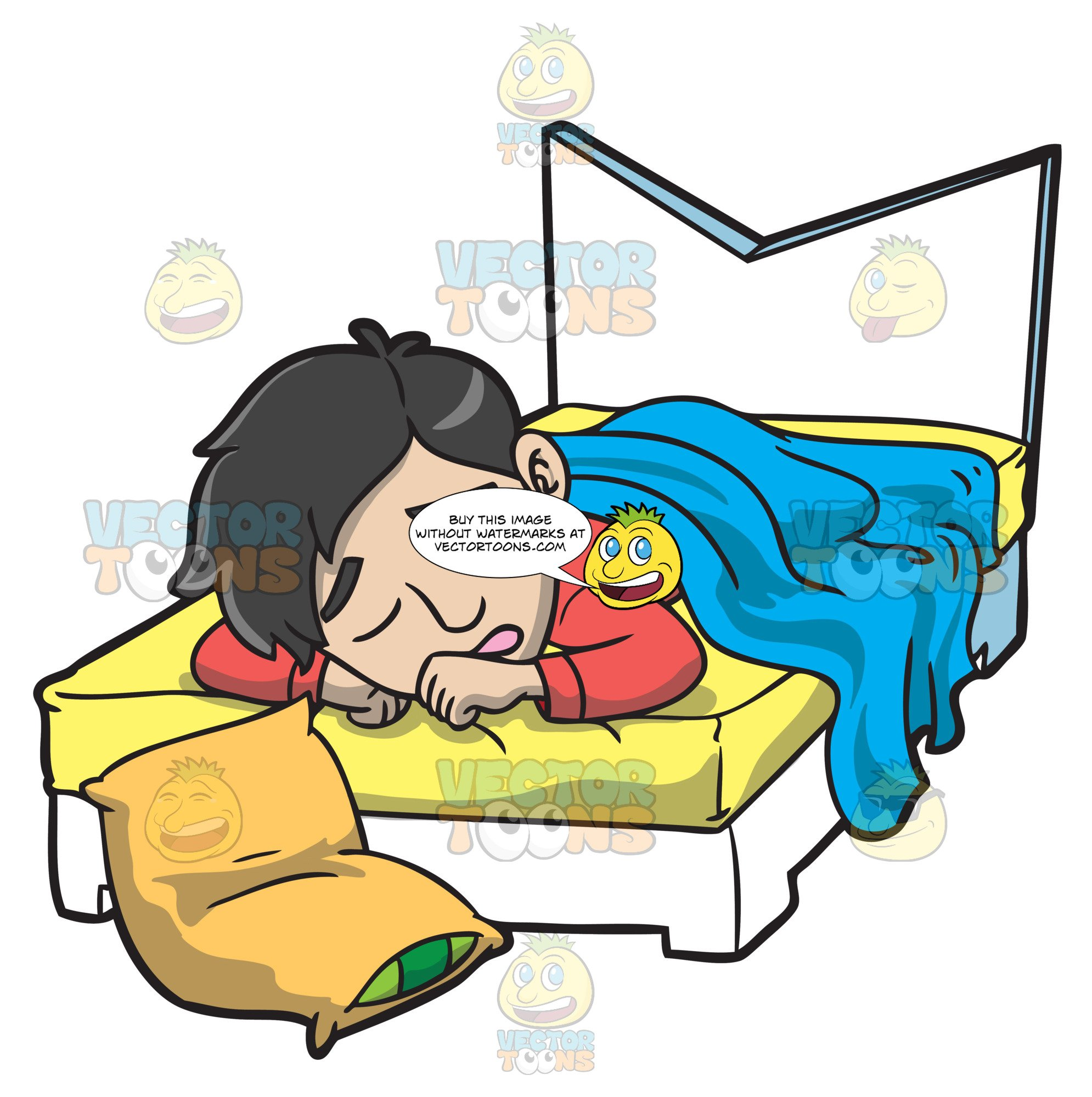 Man in bed clipart