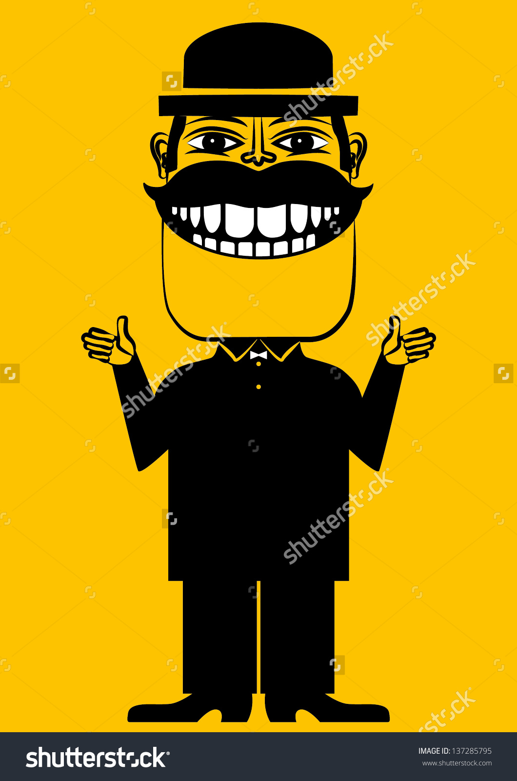 Clipart man with big smile vector royalty free A Cartoon Funny Illustration Of A Man In A Hat With A Big Smile ... vector royalty free