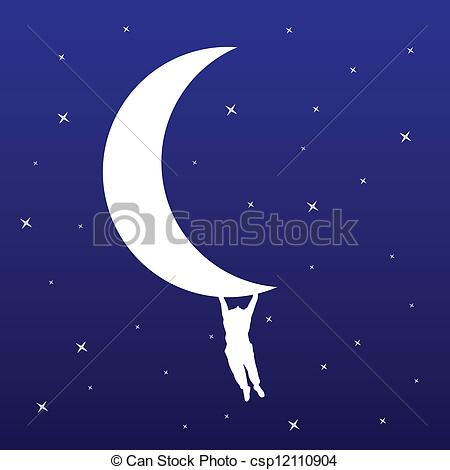Clipart mann im mond image royalty free stock Vector Clipart of man hanging on the moon vector illustration ... image royalty free stock