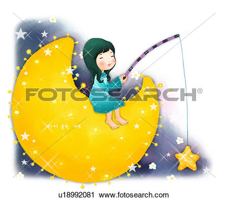 Clipart mann im mond vector royalty free Clipart of sitting, fishing rod, new moon, moon, fishing, holding ... vector royalty free