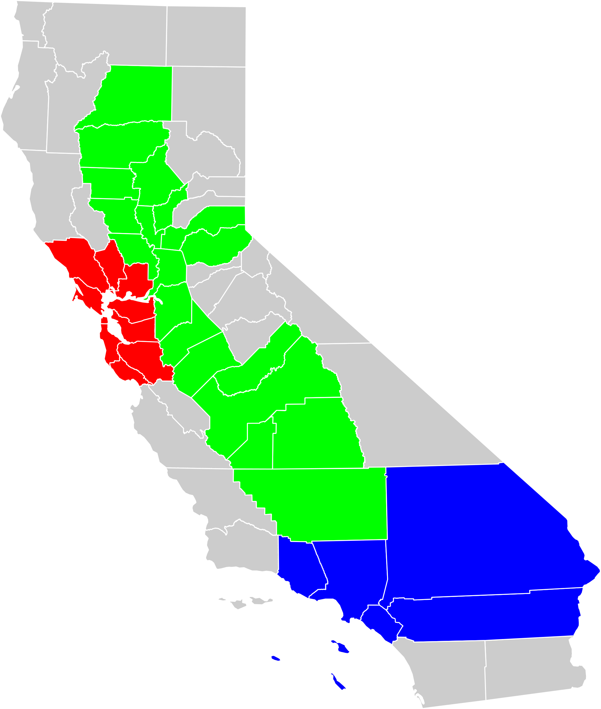 Us map highlighting california clipart picture transparent stock File:California geographical region county map.svg - Wikimedia Commons picture transparent stock