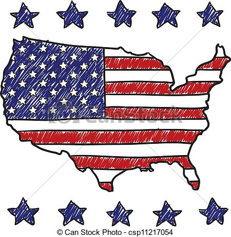 Clipart Vector of Patriotic map of the United States - Doodle ... clip library stock