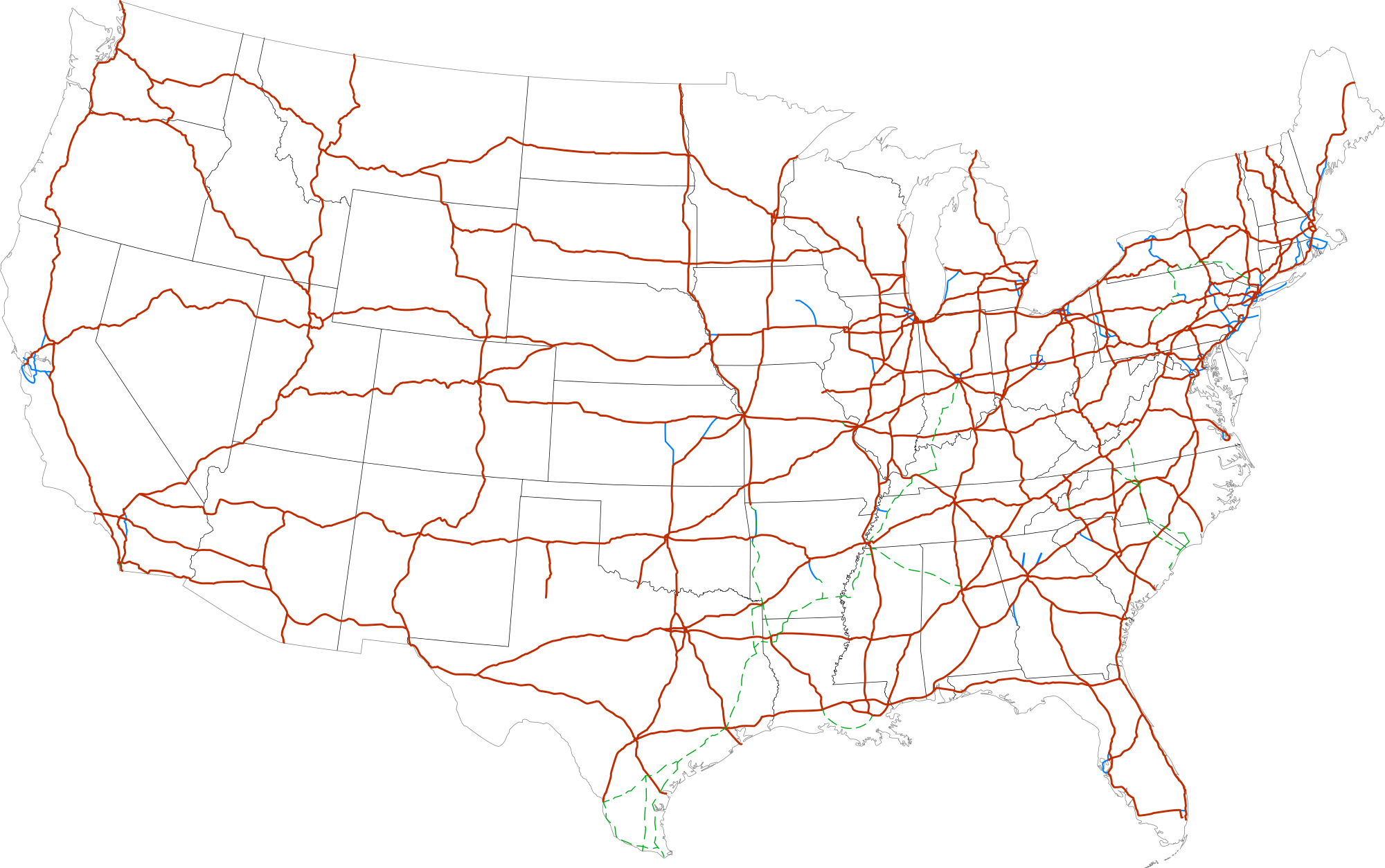 Clipart map of united states with interstates clipart freeuse stock us interstate map | Map of the World clipart freeuse stock