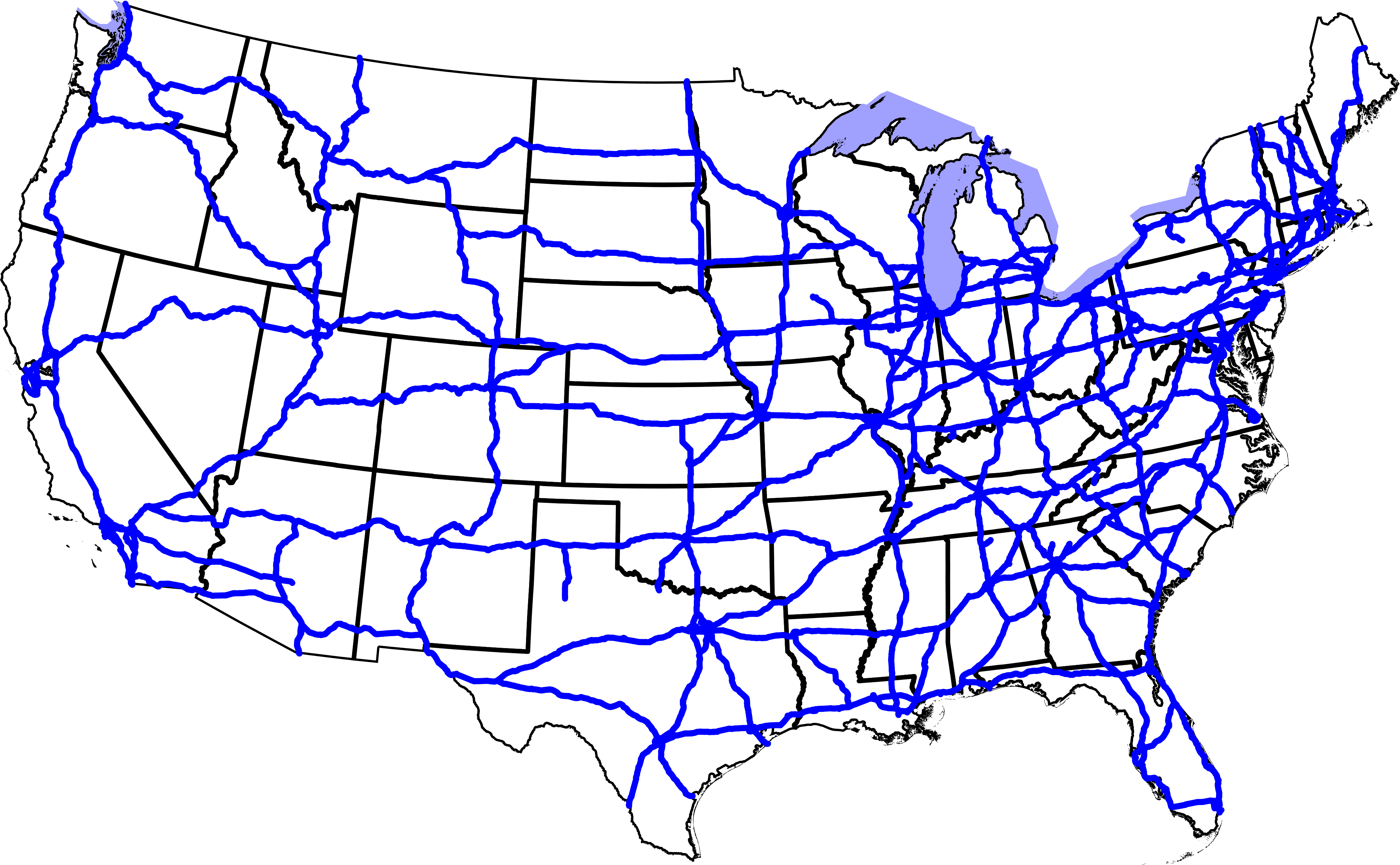Clipart map of united states with interstates graphic black and white download us interstate map | Map of the World graphic black and white download