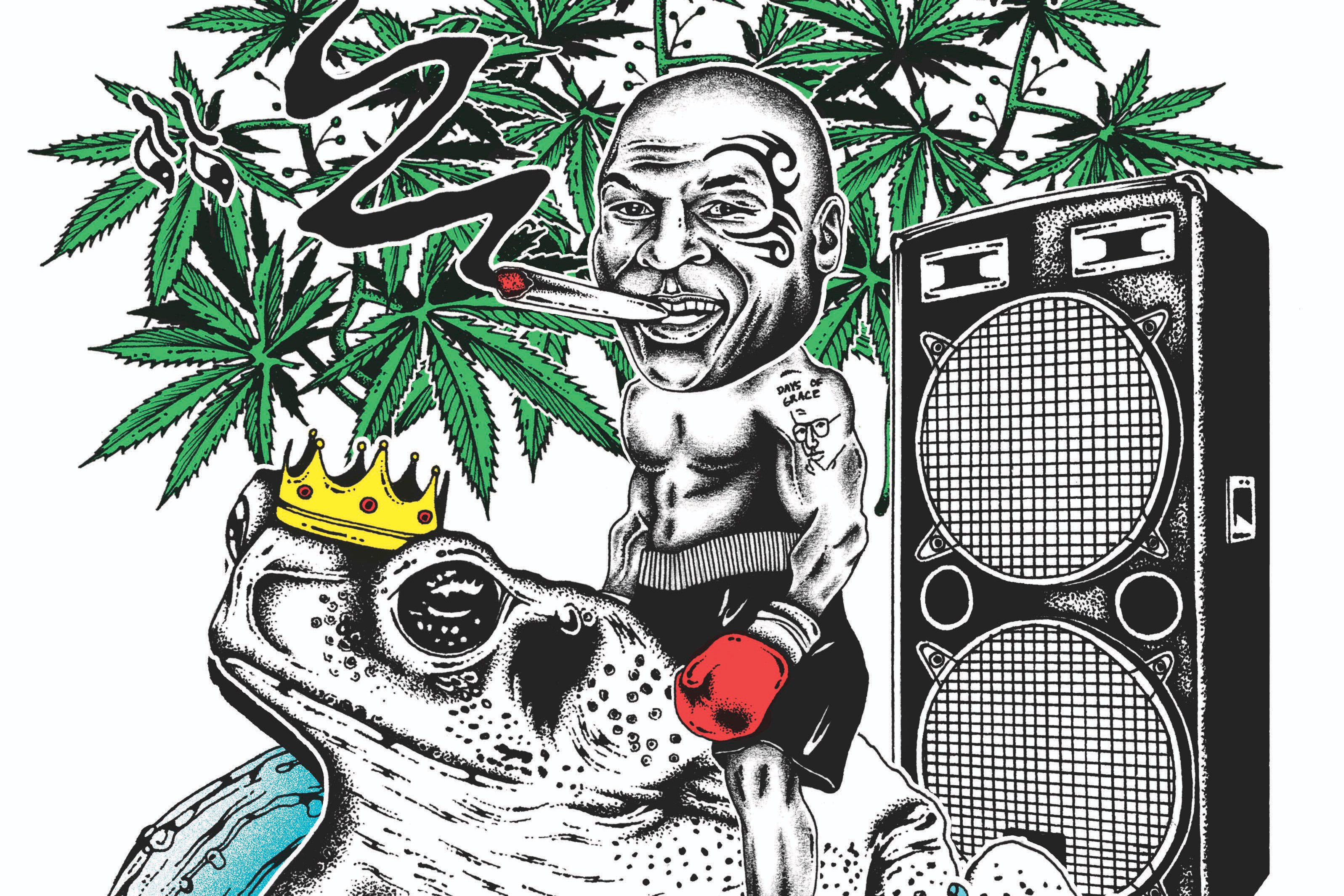 Clipart marajuana in an outdoor garden setting with hills graphic free stock Mike Tyson\'s Weed Resort: The Former Champ Smokes the Toad | GQ graphic free stock