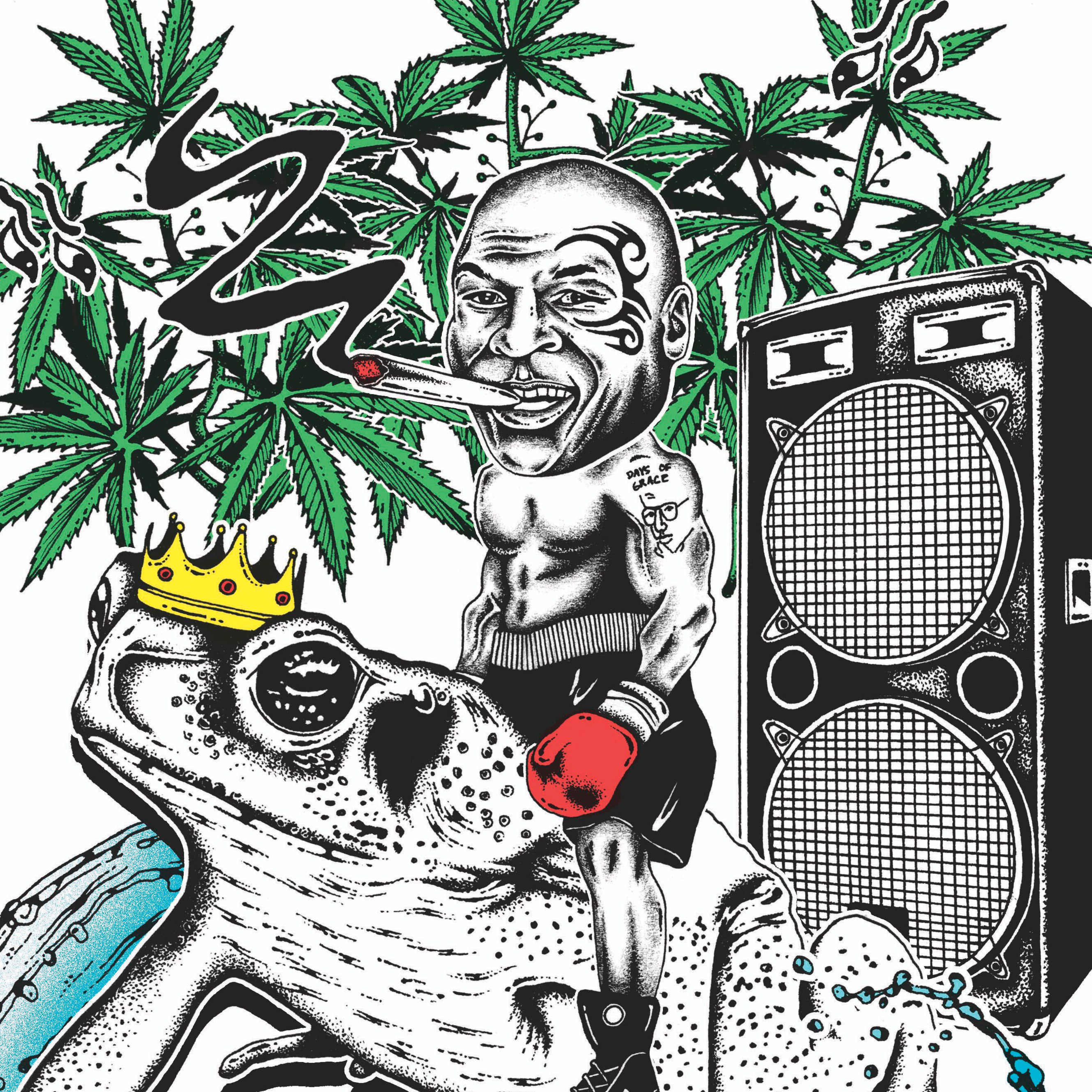 Clipart marajuana in an outdoor garden setting with hills graphic black and white Mike Tyson\'s Weed Resort: The Former Champ Smokes the Toad | GQ graphic black and white