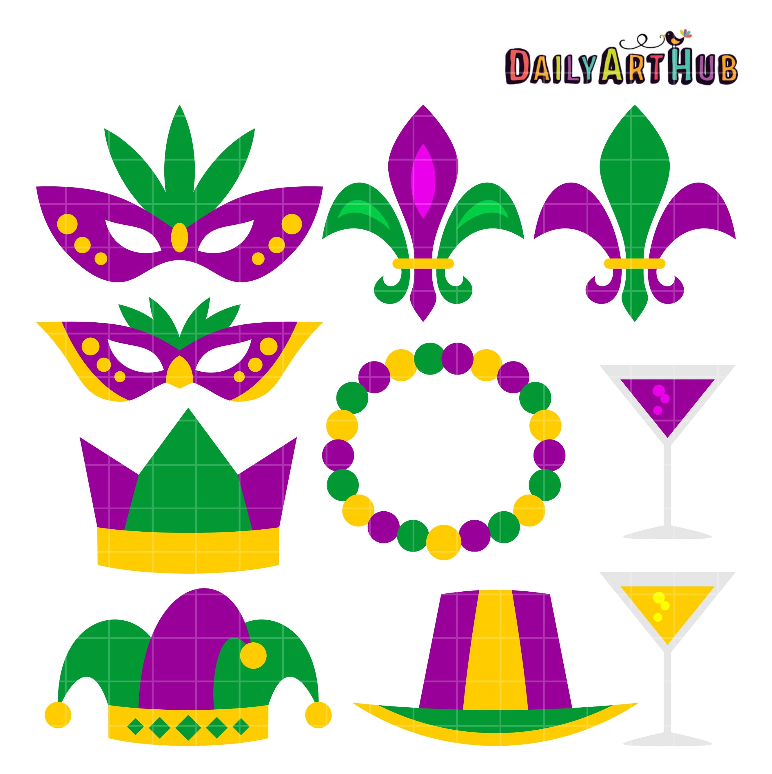Mardigras clipart graphic free Mardi Gras Clip Art Set graphic free