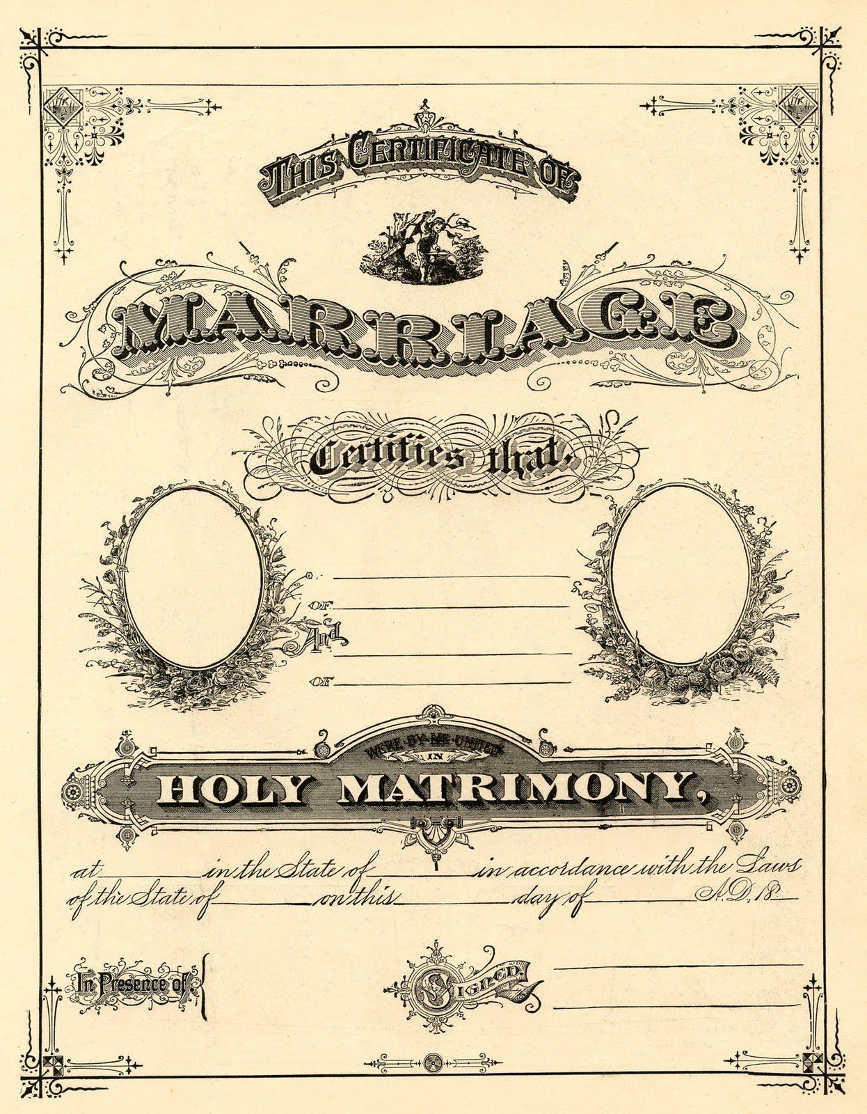 Antique Ephemera Clip Art - Printable Marriage Certificate - The ... transparent stock