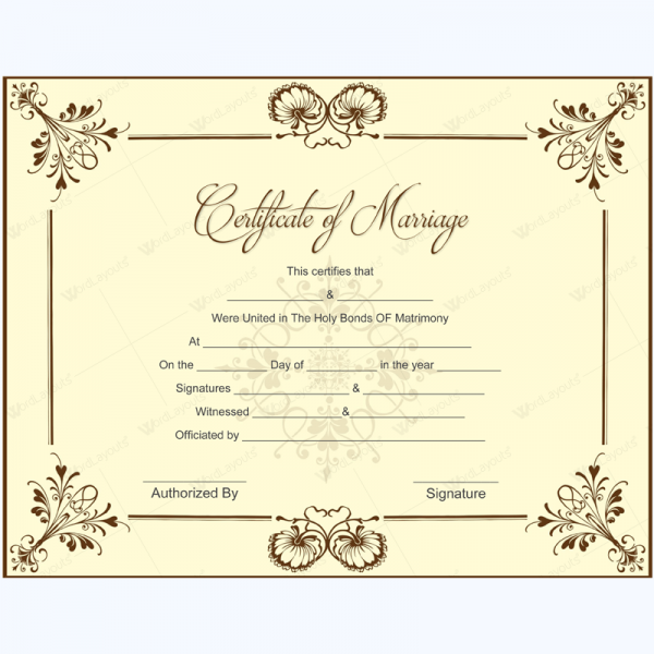 Clipart marriage certificate form graphic library stock Marriage Certificate 05   Microsoft in 2019   Marriage certificate ... graphic library stock