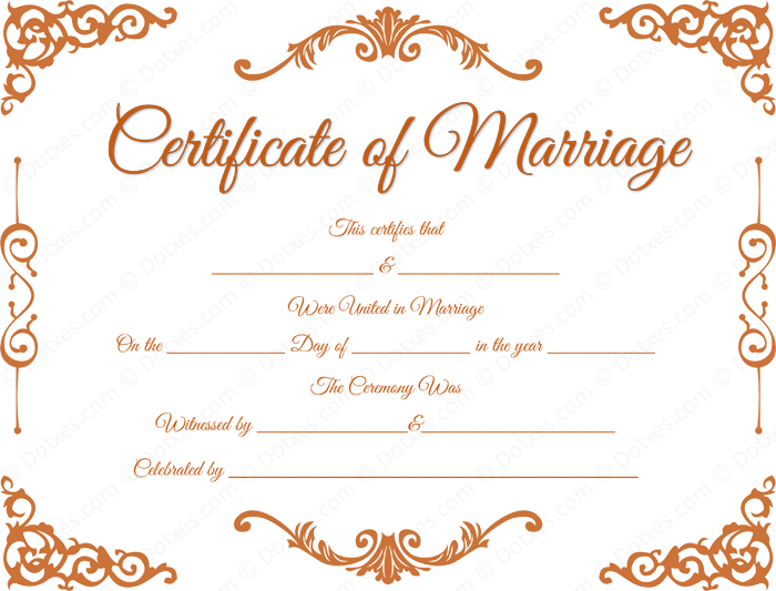 Clipart marriage certificate form clip art black and white download Traditional Corner Marriage Certificate Format for PDF   Printable ... clip art black and white download