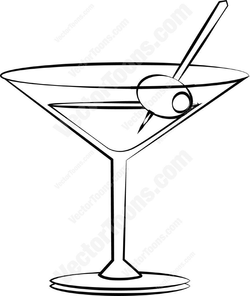 Clipart martini glass with olive vector stock Martini with an olive #alcohol #cocktail #drink #glass #martini ... vector stock