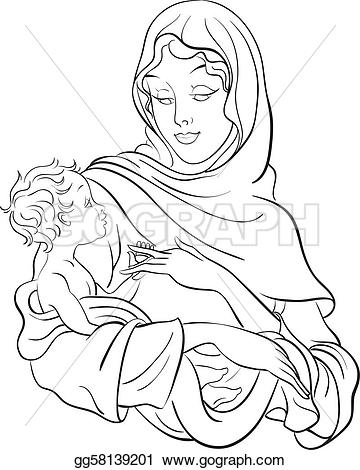 Clipart mary and baby jesus image library library Vector Clipart - Virgin mary hold baby jesus. Vector Illustration ... image library library