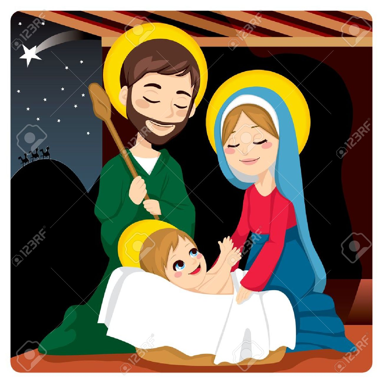 Clipart mary and baby jesus clip transparent Joseph And Mary Joyful With Baby Jesus Laughing And Three Wise ... clip transparent