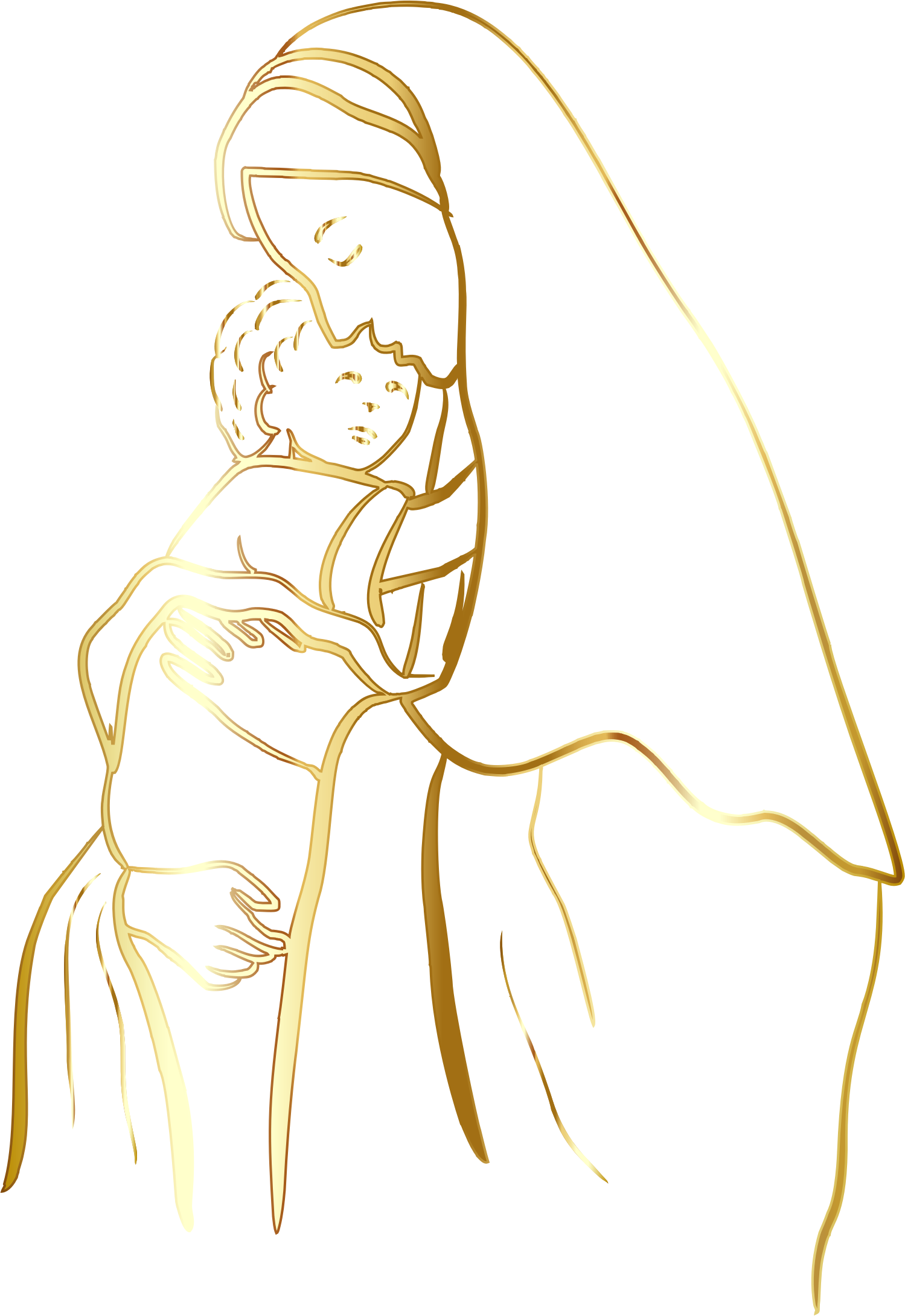 Clipart mary and jesus clip library Clipart - Gold Virgin Mary And Baby Jesus No Background clip library