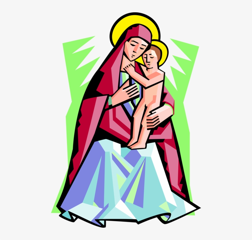 Mother of god clipart image Vector Illustration Of Virgin Mary Mother Of God With - Madonna And ... image