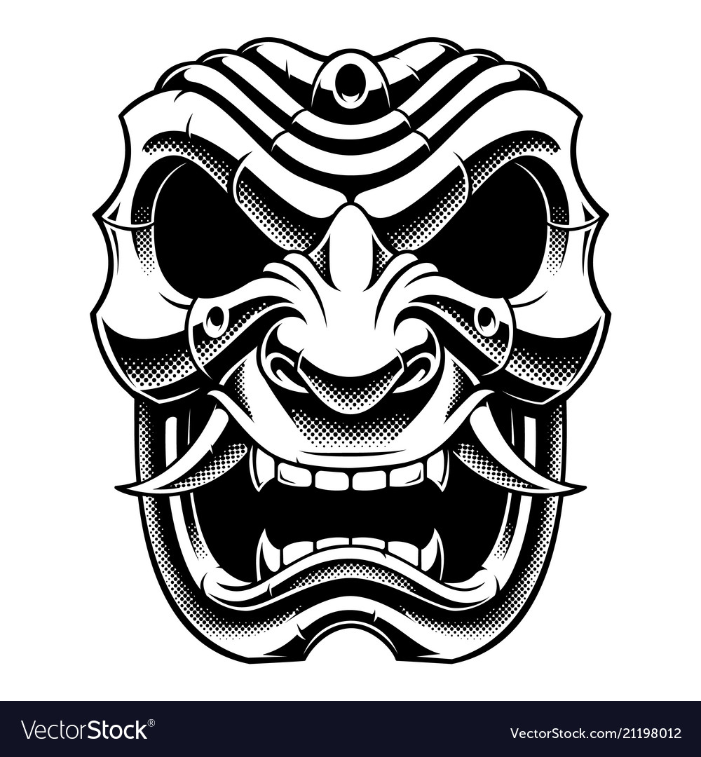 Clipart mask effect jpg black and white Samurai warrior mask bw version jpg black and white