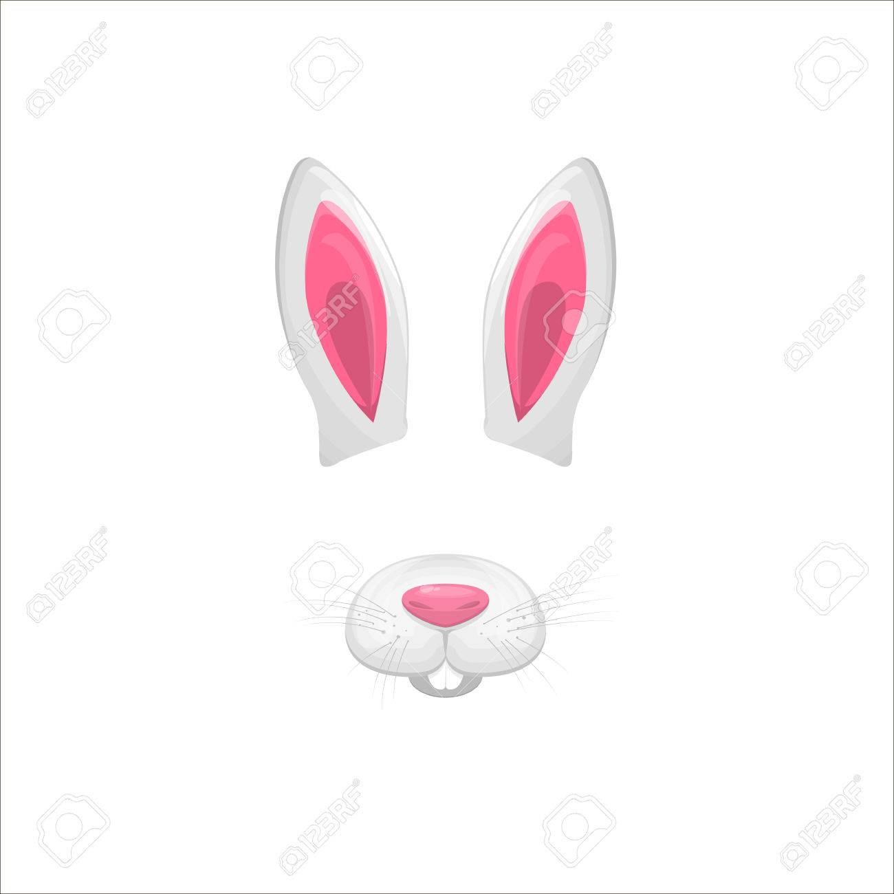Filter effect clipart image free Rabbit face elements. Vector illustration. Animal character ears and ... image free
