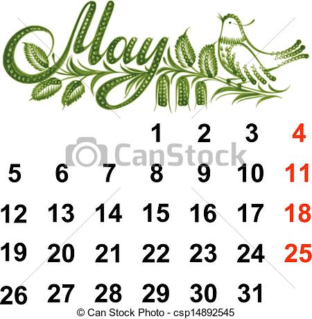 Clipart may calendar image black and white EPS Vector of Calendar May 2014 - Calendar, May 2014, hand drawn ... image black and white