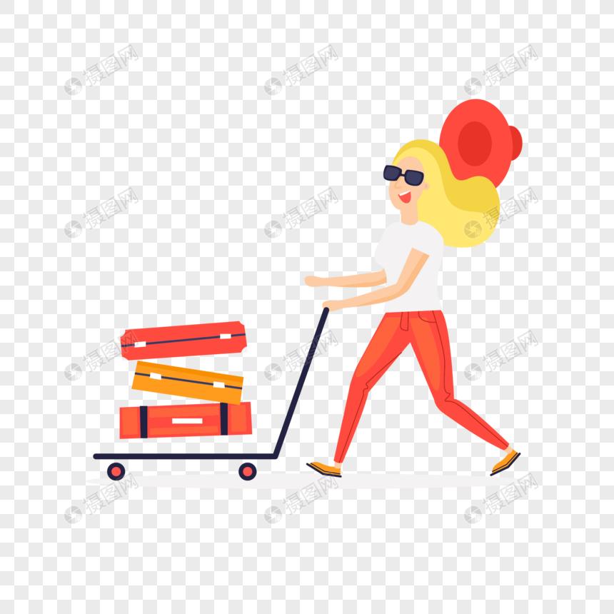 Clipart mendorong picture library stock gadis mendorong barang di bandara gambar unduh gratis_ Grafik ... picture library stock