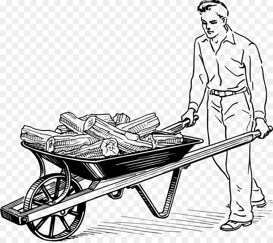 Clipart mendorong jpg black and white library Wheelbarrow Background png download - 2400*2120 - Free Transparent ... jpg black and white library