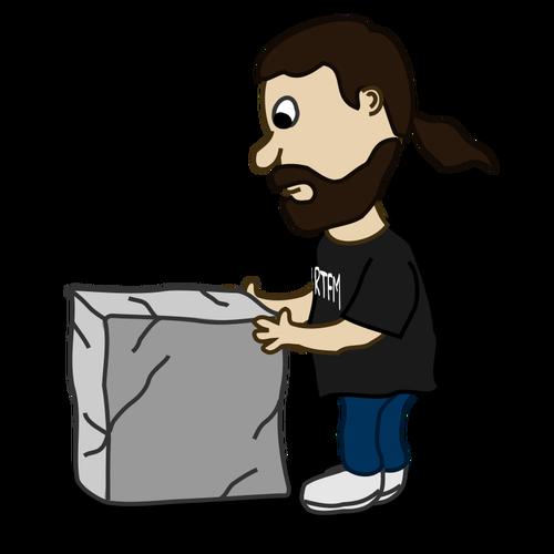 Clipart mendorong svg Gambar vektor karakter komik mendorong blok batu | Domain publik vektor svg