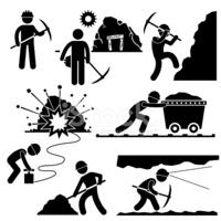 Clipart menschen bei der arbeit banner royalty free Bergbau Worker Miner Arbeit Menschen Piktogramm stock ... banner royalty free