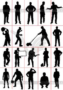 Clipart menschen bei der arbeit picture stock Silhouetten - Arbeit und Sport - vektorisierte Grafik picture stock