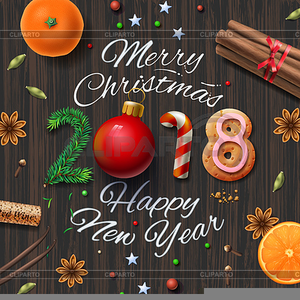 Clipart merry christmas and happy new year 2018 png royalty free stock Merry Christmas And Happy New Year Clipart | Free Images at Clker ... png royalty free stock