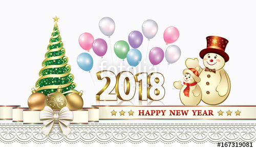 Clipart merry christmas and happy new year 2018 picture freeuse download Happy New Year 2018 with Christmas tree and snowmen with balloons ... picture freeuse download